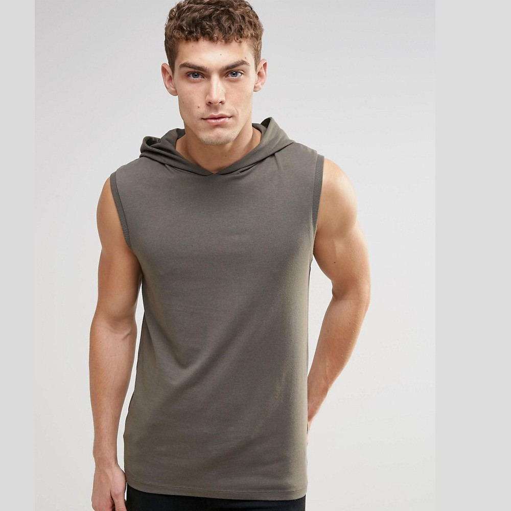 Men 100 Cotton Hooded Tank Top With Hood
