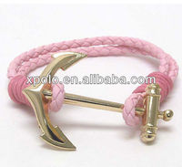 Wholesale metal gold anchor with pink leather band women bracelet