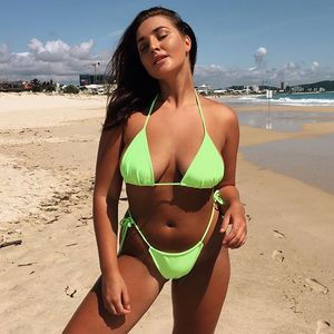 Open Sex Girl Full Photo Custom logo neon color swimsuit Thong Micro swimwear women sexy bikini