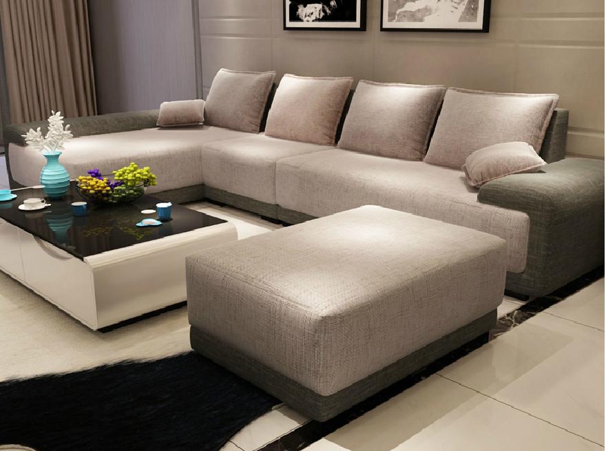 Moderne meubels l vormige sofa woonkamer meubels stof for Living room seats designs