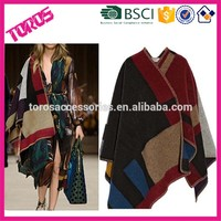 Winter Women Coats Plaid Oversized Brand Scarf Cashmere Poncho,Cape