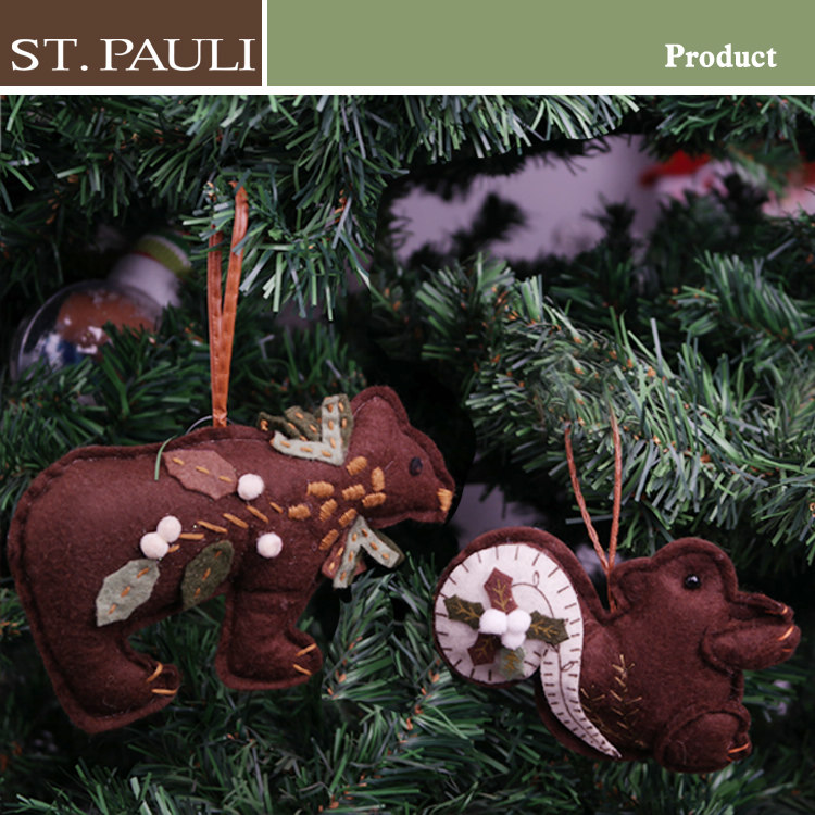 hot sale forest brown series hanging felt stuffed squirrel hot product bear christmas ornaments novelty