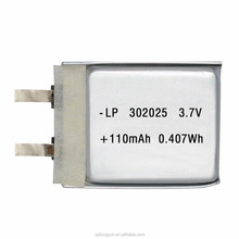 Long cycle life 302025 110mah 3.7v li-polymer battery
