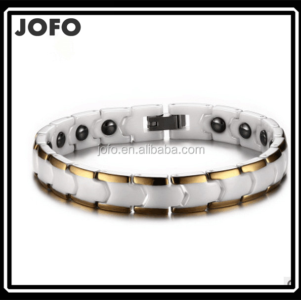 New White Ceramic Magnetic Health Therapy Stainless Steel Gold Bracelet 9""