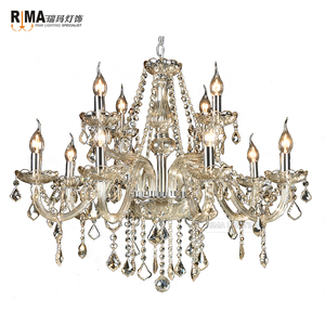 2018 Hot Sale Interior Lighting 12 arms Champagne Color Glass Crystal Chandelier for Home and Hotel