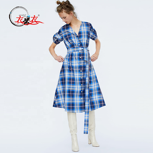 Custom High Quality The Fashion Check Taffeta Women Shirt Dress