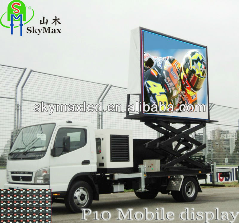 P10 outdoor use full color big led tv car for advertising