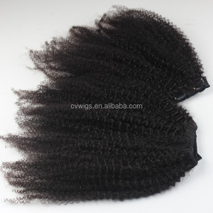 Virgin natural looking brazilian human hair afro kinky curly for black women