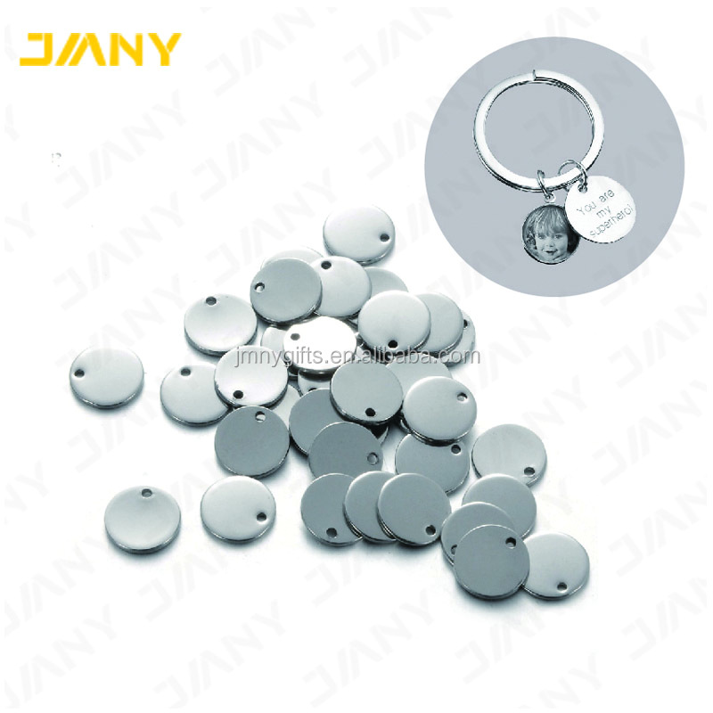 Custom Silver Tone Round Circle Stamping Blank Metal Tags for jewelry