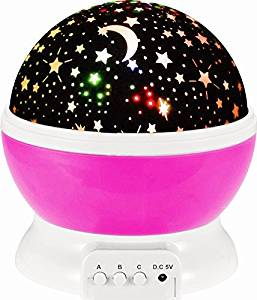 W-inds Projector Night Lighting, Mood Decorative Light, Star Lighting Lamp, Rotation Night Light Projector,360 Degree Romantic Rotating Cosmos Moon Star Sky Projector Lamp with USB Cable