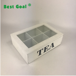 white tea box wood with 6 cups