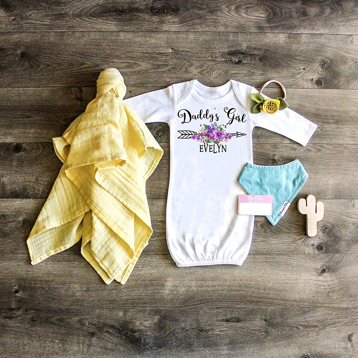 a18bdbea3d12 Get Quotations · Daddy s Girl Gown Personalized Gown Daddy s Girl Outfit  Personalized Gown Newborn Gown Newborn Outfit Take home