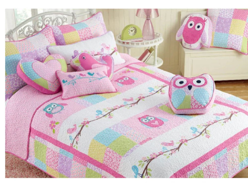 3 Piece Pink Girls Happy Owls Themed Quilt Queen Set, Gorgeous Colorful Pretty Birds,Flowery, Square Pattern, Beautiful Elegant Stripe Embroidery Print, Reversible Bedding, Abstract Pink Blue Green