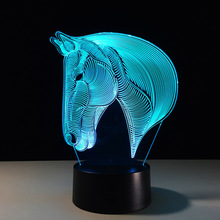 ZOGIFT Amazing 3D Illusion Light Skull LED Table Lamp Night Light 7 Different Color is Adjustable ( horse ) Halloween New Year K