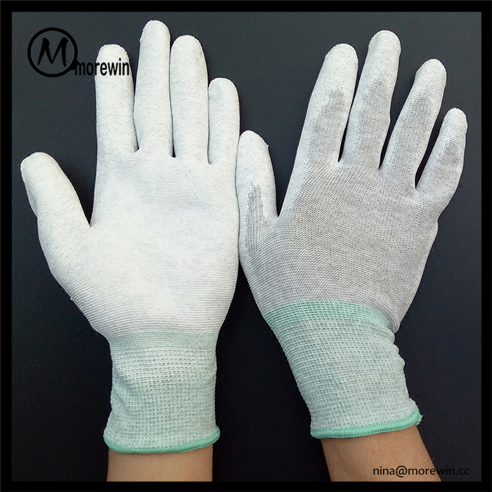 Morewin Wholesale Cheap carbon fibre Plam Coated Gloves Work Glove