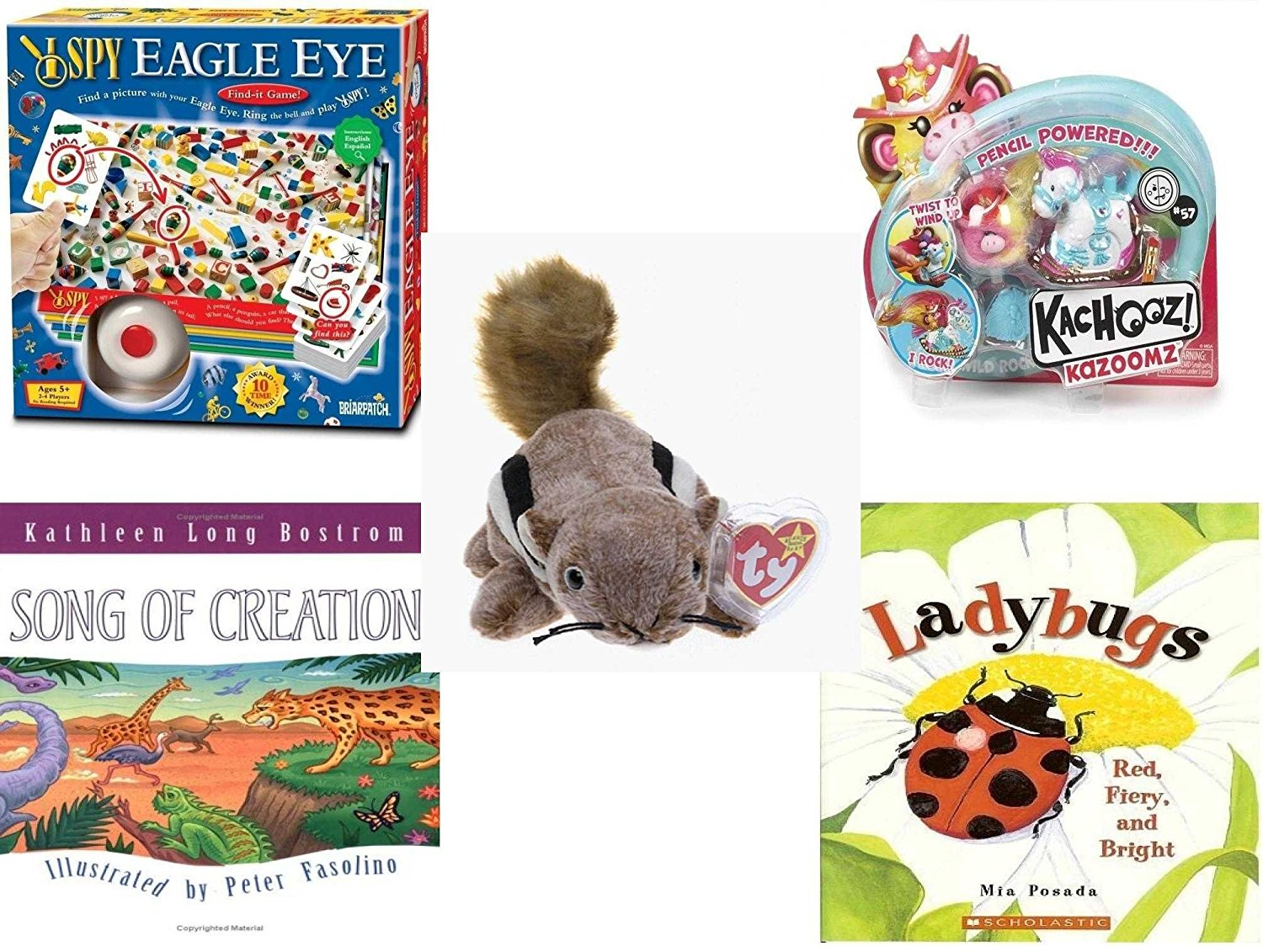 Children's Gift Bundle - Ages 3-5 [5 Piece] - I SPY Eagle Eye Game - MGA Kachooz Feature Rocking Horse Toy - Ty Beanie Baby - Chipper the Chipmunk - Song of Creation Hardcover Book - Ladybugs: Red,
