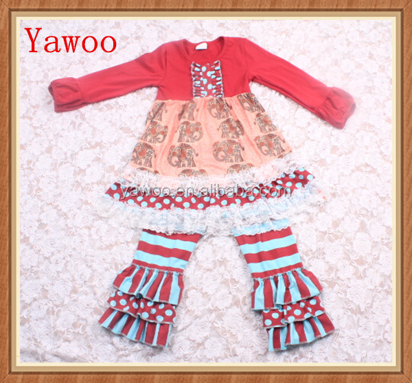 yawoo wholesale boutique suppliers elephant ruffle children clothing thailand lace ruffle fall boutique outfits clothing sets
