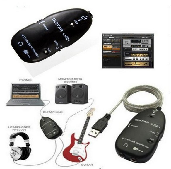 usb guitar to pc interface cable link audio electric acoustic pre amp amplifier lowest prices. Black Bedroom Furniture Sets. Home Design Ideas