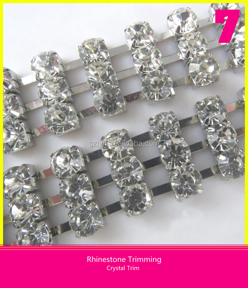 Shiny Wholesale 3 Rows Crystal Strass Stone Chain trim Decorative For Garments
