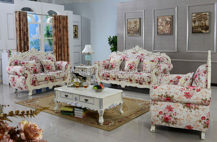 Dxy Elegant Design Cloth Sofa Fashionable Flower Patterns For Living Room 3048