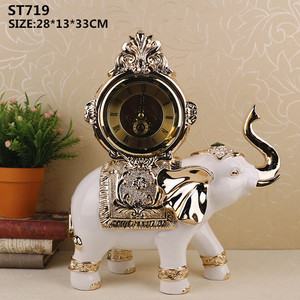 TV table decoration resin crafts elephant statues with clock design for home decor