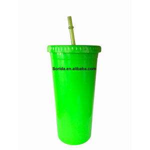 Promotional 16Oz Hard Clear Plastic Tumbler Water Cup With Lid And Straw