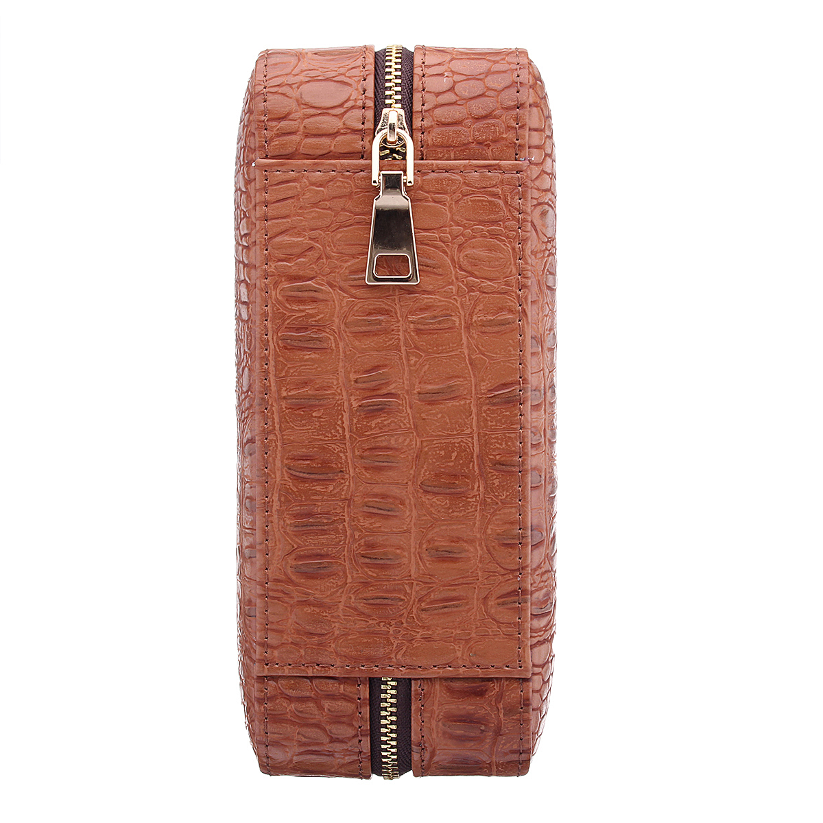 Brown Leather Bonded Cigar Case With Cutter Holders 5 Cigars for Designed