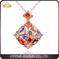 KSTONE Mona Lisa Multi Colored Rose Gold Plated Crystal Stone Pendant Necklace
