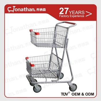 80l Supermarket Marketeer Ping Trolley 2 Tier Cart With Wheels High Capacity Two