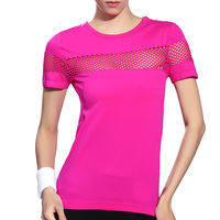 Women Yoga Fitness Running Sports T Shirt Gym Quick Dry Breathable Exercises Tops
