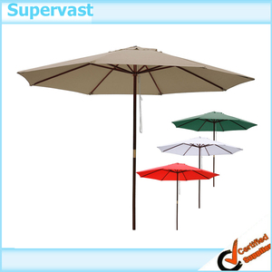 2.7M Hand Push Teak Umbrella