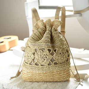 Cherry ball beach bag Hand crocheted backpack holiday vacation straw bag
