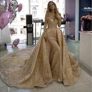 Gold Wedding Dresses.Gold Luxury Wedding Dress Ball Gown Dubai Shiny Lace Wedding Gown Off Shoulder Long Sleeve Bridal Dress 2019 New Robe De Soiree