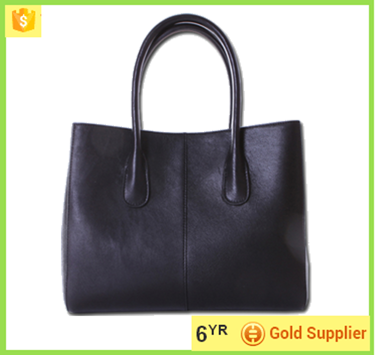 China hand bag manufacturer black bag lady real cow leather handbag