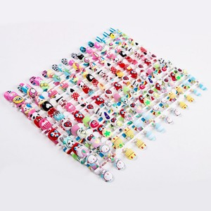 24 pcs Cartoon Designed Nail Art Tips Print Pretty Girl Artificial False nails tips Easy Use Design Tips for Nail Salons