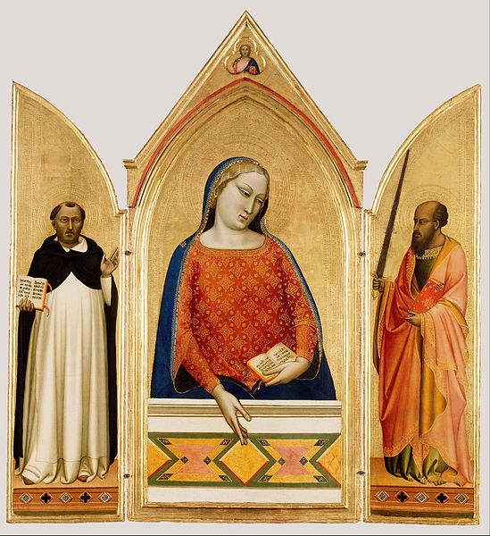 Canvas Art Prints Giclee Oil Painting Bernardo Daddi (<font><b>italian</b></font> florentine) - Madonna Saint Thomas Aquinas And Paul