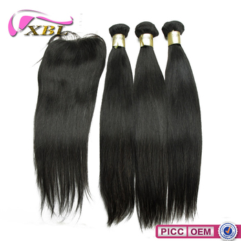 8A Free Shipping Length 10 To 24 Inch Straight Virgin Hair Bundles With Lace Closure