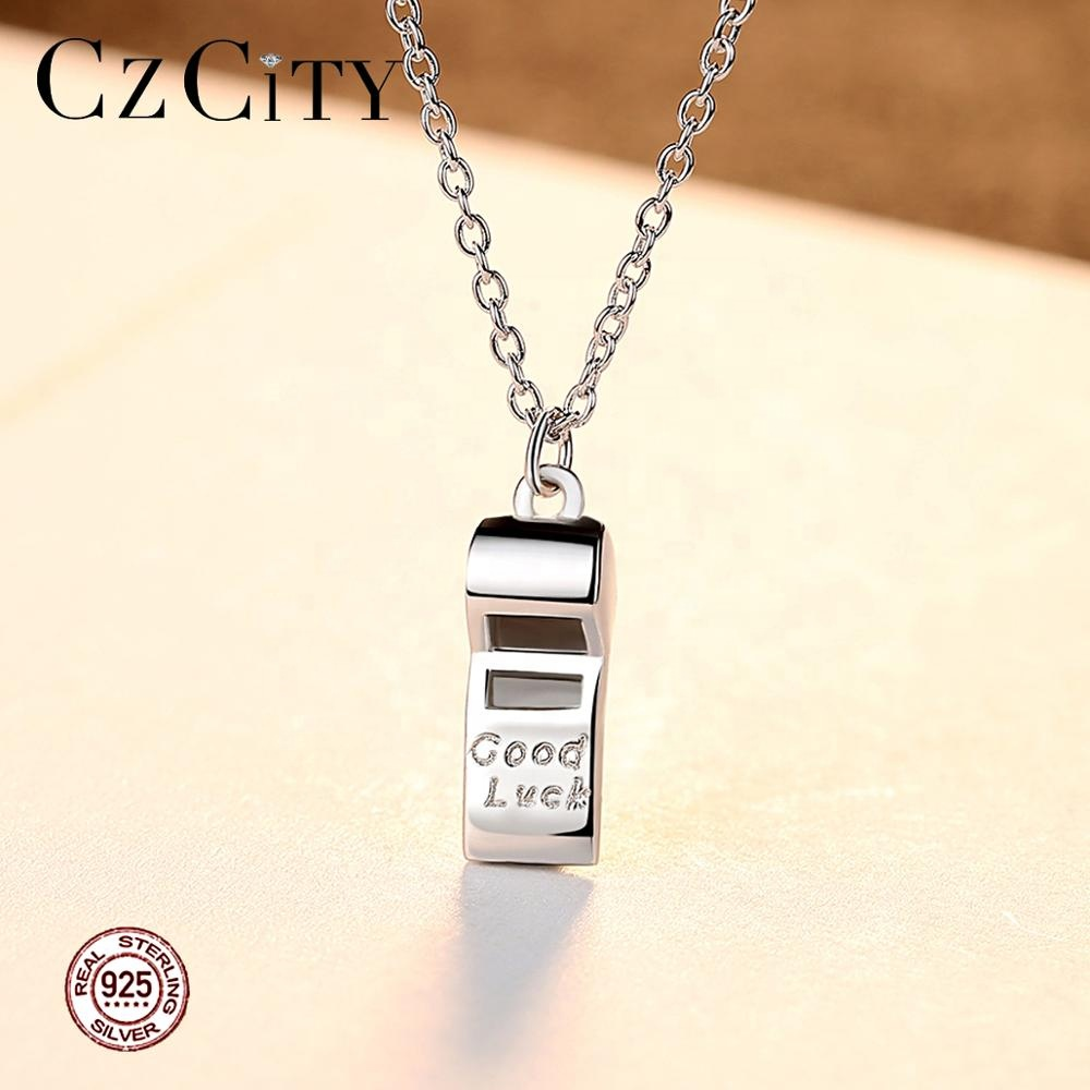 CZCITY 섬세한 휘슬 Shape 펜 던 트 Necklaces Sterling Silver 925 Custom 보석 Necklace Factory Directly \ % Sale