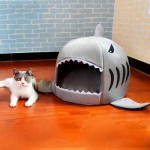 Wholesale quality soft cotton shark shape cute pet dog ped cat nest