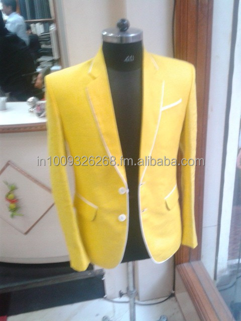 Mens Yellow Linen Wedding Formal Dinner Jacket Sports Blazer Coat