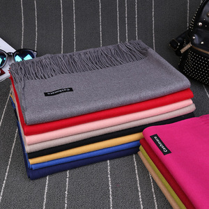 Cosum High Quality Women Pashmina Scarf Plain Soild Winter Color 100% Cashmere Scarf