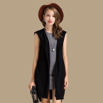 7b9409a12825e Finest Quality Spring Autumn Women Wool Sweater Sleeveless Hooded Cardigan