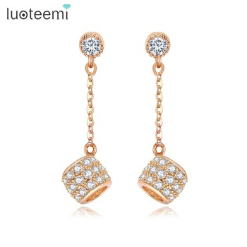 LUOTEEMI 2017 Trendy Bridesmaid 20mm Long Chain With Cubic Zirconia Hollow Ball Stud Earrings
