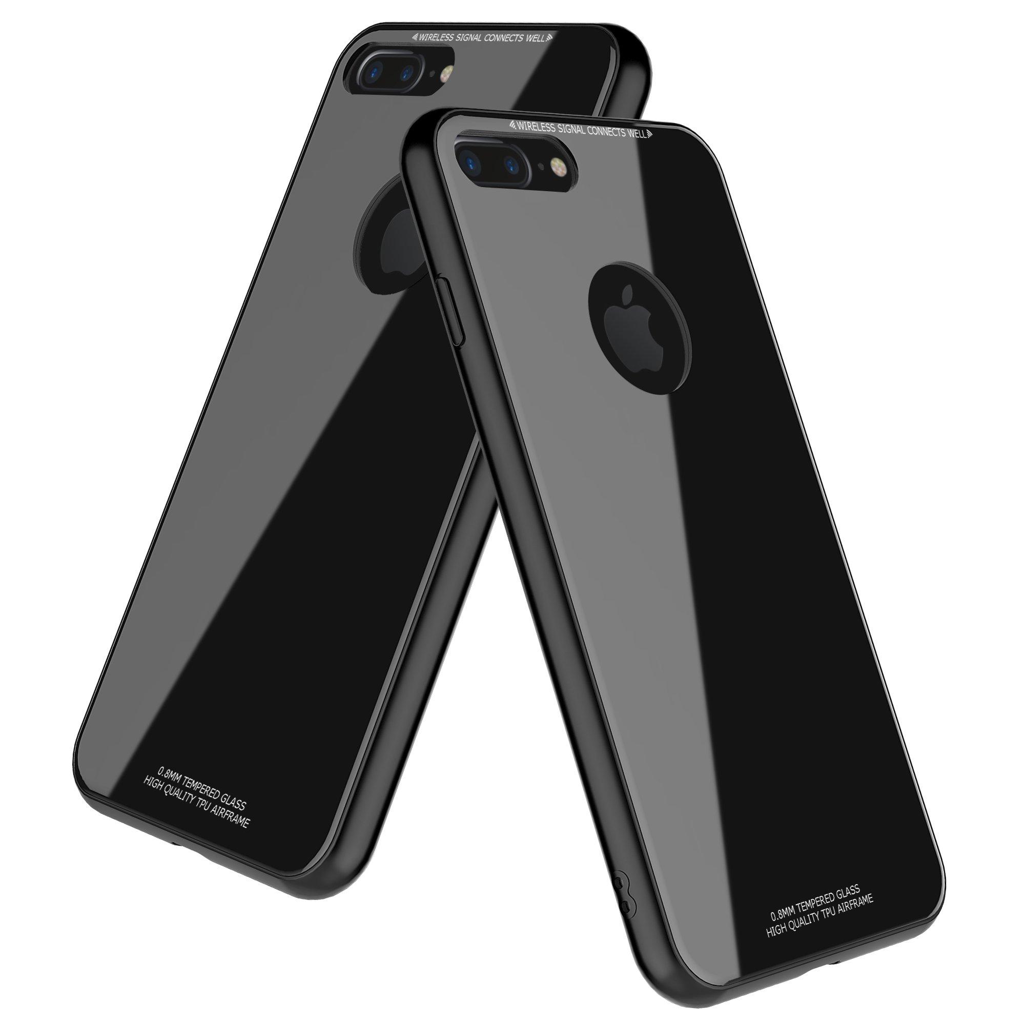 iPhone 8 plus Case,Despot_ak,Tempered Glass Back Plate and Soft TPU Gel Bumper-Black