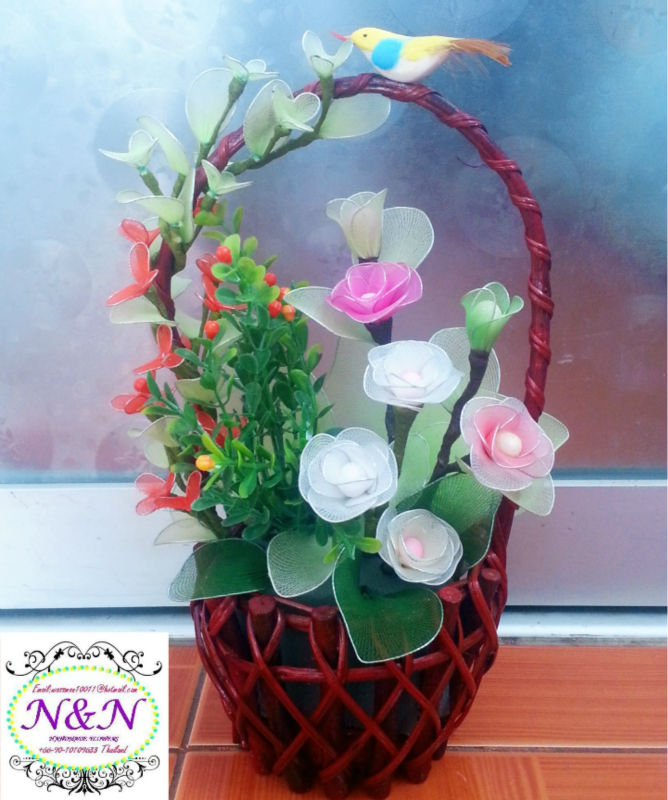 Decoration Handmade Flowers In Small Basket,House Decorations ...