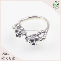 vintage skull s925 sterling silver open adjustable men women ring