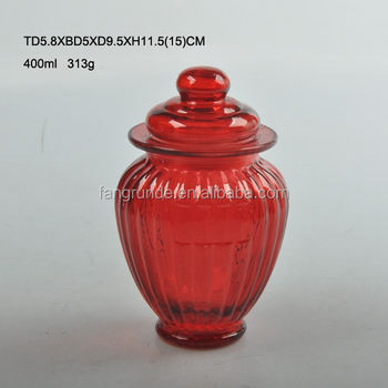 Customized Decorative 400ml Small Bottom Red Colored Glass Storage Jar