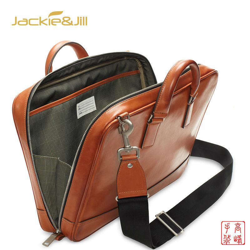Own Designer brand vintage Brown Men briefcases 100% Genuine Leather large Laptop Single removable Shoulder Bags for man custom