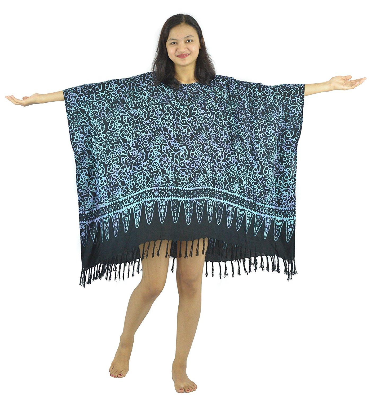 8113d6f5790 Lifestyle Batik Abstract Motif Batik Women Plus Size Tunic Poncho Caftan Top  48