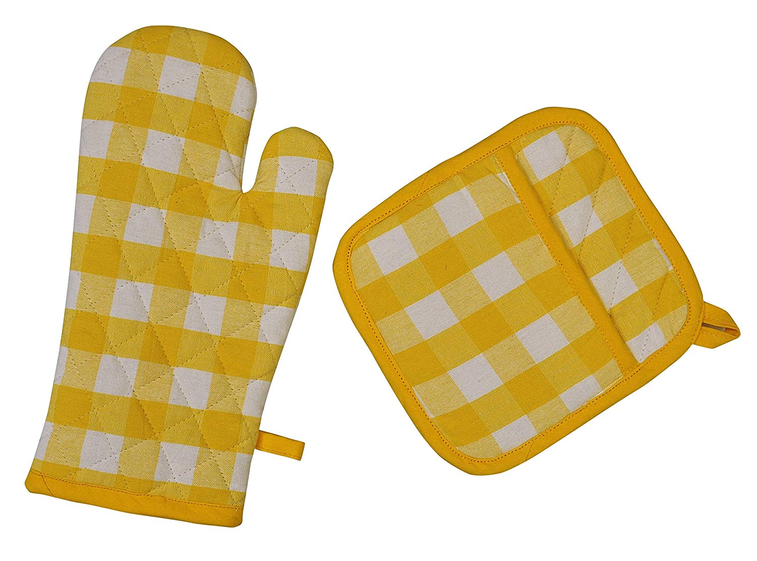 Yourtablecloth Set of Checkered Oven Mitt and Pot Holder or Oven Gloves-100% Cotton, Heat Resistance, Superior Protection & Comfort–Gingham design-Machine Washable Yellow and White